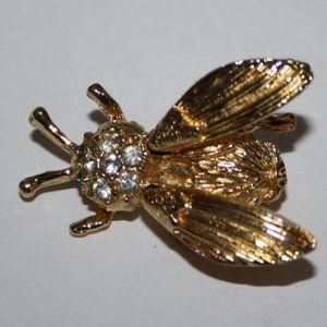 Vintage Jewelry - Stunning Vintage gold and rhinestone bug brooch